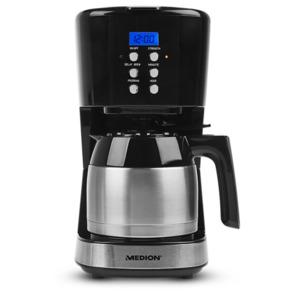 MEDION Kaffeemaschine mit Thermokanne MD 18088, Timer-Funktion, Tropf-Stopp, 900 Watt, 1 Liter Fassungsvermögen, schwarz