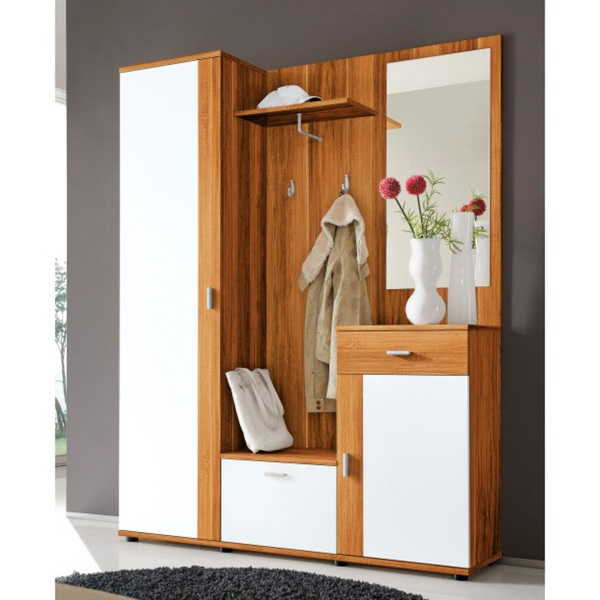 garderobe patent walnuss wei ca 145 x 188 x 35 cm von m bel boss ansehen. Black Bedroom Furniture Sets. Home Design Ideas