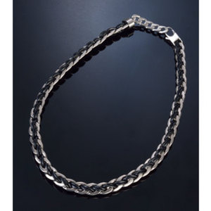 """Halskette """"Leather and Steel""""        Chirurgenstahl/Leder, Länge: 53cm"""