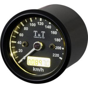 T&T elektronischer Tachometer        48 mm, -220KM/H, schwarz