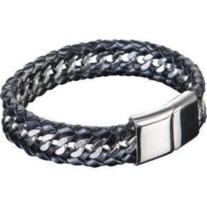 """Armband """"Leather and Steel II""""        Chirurgenstahl, Länge: 22cm"""