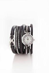Wickelarmband mit Uhr schwarz