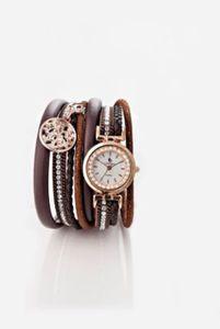 Wickelarmband mit Uhr braun