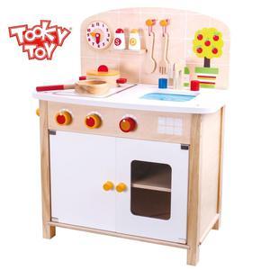 Tooky Toy großer Spielzeug Herd mit Kochplatten, Topf, Pfanne, Kochlöffel, Wanduhr, Spüle, Backofen
