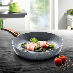 BRATmaxx Keramik-Pfanne Granit-Design mit Griff in Holz-Optik, 24 cm