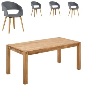Essgruppe Royal Oak/Holstebro (140x90, 4 Stühle, anthrazit)