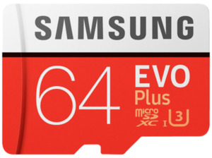 SAMSUNG Evo Plus, 64 GB, Micro-SDXC Speicherkarte, 100 MB/s