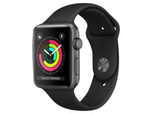 APPLE Watch Series 3 (GPS) 42 mm, Smartwatch, Hochleistungs-Fluorelastomer, 140 - 210 mm, Space Grau mit Sportarmband Schwarz