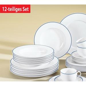 KAHLA Tafelservice 12 teilig ARONDA Weiß mit blauem Dekor
