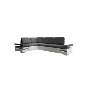 Polsterecke Latino Lux Kunstleder/Stoffbezug Weiß/Grau ca. 195 x 275 cm