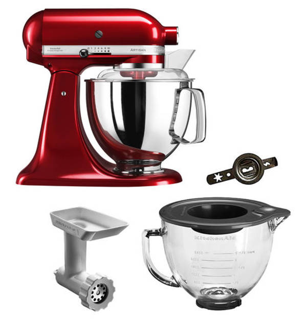 kitchenaid k chenmaschinen set artisan 5ksm175pseca liebesapfelrot kippbarer motorkopf. Black Bedroom Furniture Sets. Home Design Ideas