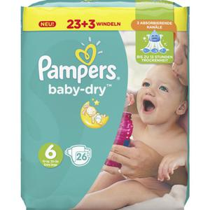 Pampers Baby Dry Windeln Baby Dry Sparpack, Größe 6 Extra Large