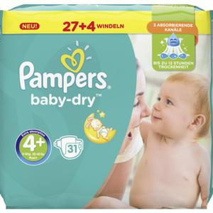 Pampers Baby Dry Windeln Baby Dry Sparpack, Größe 4+ Maxi Plus