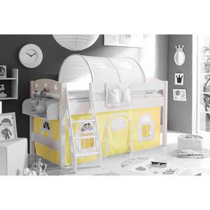 TICAA Hochbett ´´Kenny´´ mit Schrägleiter Landhausstil gelb-weiß, weiß
