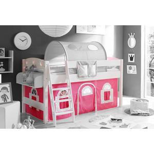 TICAA Hochbett ´´Kenny´´ mit Schrägleiter Landhausstil pink-weiß, weiß