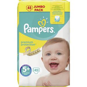 Pampers Windeln Premium Protection Jumbo Pack, Größe 5+ Junior Plus