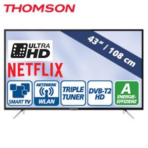 "43""-Ultra-HD-LED-TV 43UC6316 • Auflösung 3840 x 2160 Pixel • HbbTV, H.265, HDR, Dual-Core • 3 HDMI-/2 USBAnschlüsse, CI+ • Stand-by: 0,29 Watt, Betrieb: 70 Watt • Maße: H 56,6 x B 97,6"