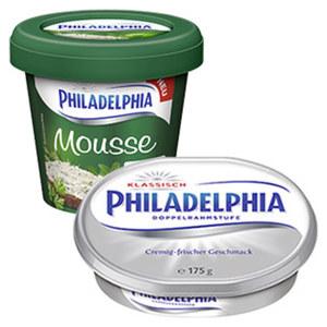 Philadelphia oder Philadelphia Mousse Frischkäsezubereitung, 69/70 % Fett i. Tr./14 % Fett absolut, versch. Sorten,  jede 175/150/140-g-Packung