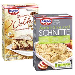 Dr. Oetker Backmischung Marmor-Wolke Kuchen oder Apfel-Streusel Schnitte und weitere Sorten, jede Packung