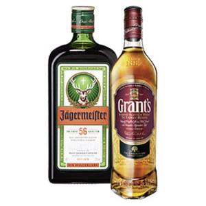 Jägermeister oder Grants Whisky 35/40 % Vol.,  jede 0,7-l-Flasche