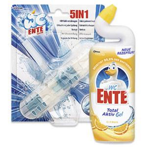 WC Ente WC Aktiv-Gel 750 ml oder 5in1 WC Stick versch. Sorten, jede Flasche/Packung, nach Rabatt-Abzug beim Kauf von 2 Stück