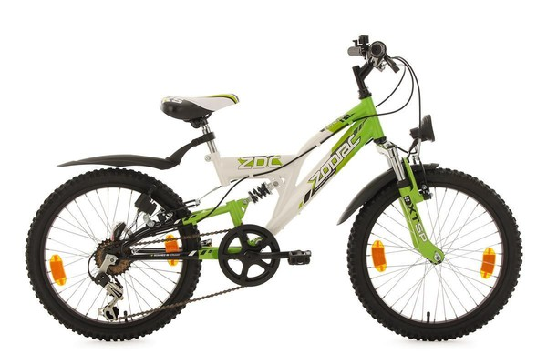 KS Cycling Kinderfahrrad Mountainbike Fully 20'' Zodiac weiß-grün RH 31 cm
