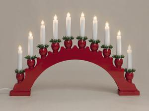 Merxx Leuchter, 10-flammig, Holz, rot, innen
