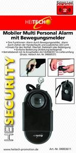 Heitech Mobiler Multi Personal Alarm mit Bewegungsmelder