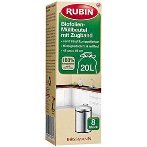 RUBIN Biofolien-Müllbeutel mit Zugband 20 l