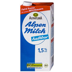 Alnatura Bio Haltbare fettarme Alpenmilch 1,5% 0.99 EUR/1 l