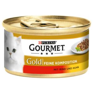 Gourmet Katzenfutter Gold Feine Komposition mit Rind & Huhn 85g