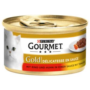 Gourmet Katzenfutter Gold Mit Rind & Huhn in einer Sauce mit Tomaten 85g
