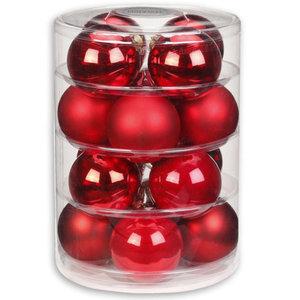 Christbaumkugeln - hell-dunkel-rot - Glas - 16 Stück - 7,5 cm