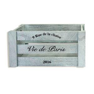 Deko-Holzkiste PARIS - grau - 30 cm