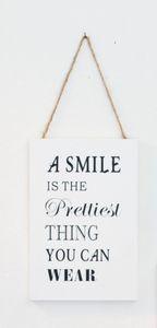 Deko-Schild Smile, aus weißem Holz