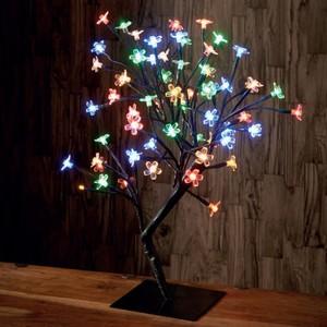 Bonsai-Lichterbaum 45 cm mit 64 LED-Blüten multicolor batteriebetrieben