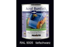 Primaster Acryl Buntlack tiefschwarz seidenmatt, 750 ml