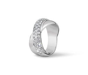 Ring »Gekreuzt« mit Swarovski® Kristallen