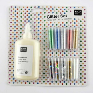 Glitter Set 11-teilig mit Kleber