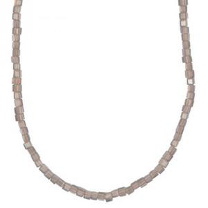 Glasschliffkette Würfel hellgrau 70cm