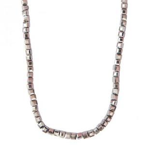 Glasschliffkette Würfel grau 70cm