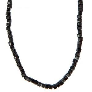 Glasschliffkette Würfel schwarz 70cm