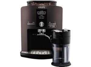 KRUPS EA829P Latt´Espress Kaffeevollautomat Platinum Schwarz (Edelstahl-Kegelmahlwerk, 1.7 l Wassertank)