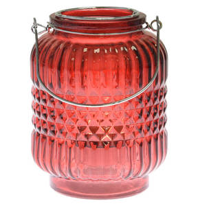 GALERIA home             Windlicht, 24 cm, rot, Henkel