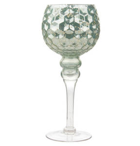 GALERIA home             Glaskelch, 30 cm, mint, Waffelmuster