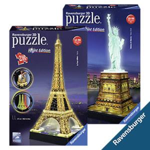 3-D-Puzzle Eiffelturm bei Nacht ab 12 Jahren oder Freiheitsstatue bei Nacht ab 10 Jahren, je
