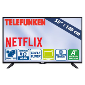 "55""-FullHD-LED-TV D55F289N4CWI • HbbTV, H.265, 3 HDMI-Eingänge • USB-/CI+-Anschluss • Stand-by: 0,5 Watt, Betrieb: 60 Watt • Maße: H 73,0 x B 124,8 x T 9,5 cm • Energie-Effizienzklasse"