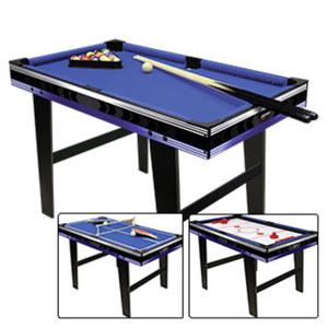 Multitisch 3 in 1 • Multifunktionstisch, 3 Spiele - Billiard - Tischtennis - Gleithockey • einfacher Umbau • Zubehör: Billardkugeln (38 mm), 2 Queues, 2 Kickerbälle, Tischtennisgarnitur, Puck