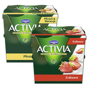 Danone Activia Fruchtjoghurt versch. Sorten, jede 4 x 125 = 500-g-Packung