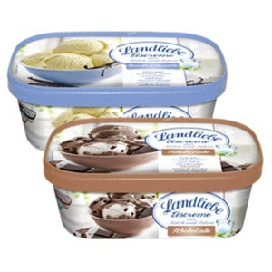 Landliebe Eis  Vanille oder Schokolade * * * jede 750-ml-Packung und weitere Sorten